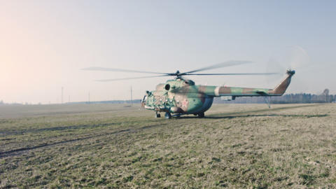 Russian Military Helicopter stock footage