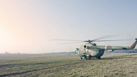 Russian Military Helicopter in the field Footage