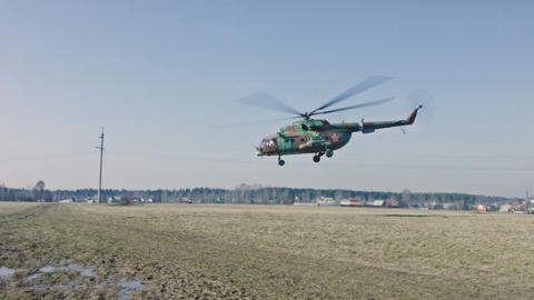 Military Helicopter Taking Off stock footage