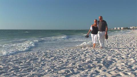 Couple On A Beach stock footage