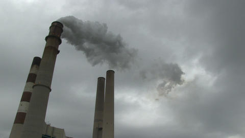 Smokestacks wide TIMELAPSE HD Footage