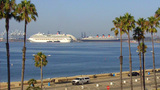 Beach Long Beach Bay Queen Mary & Cruise Ship stock footage