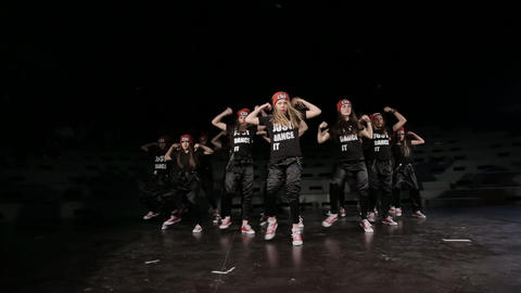 Teenage female hip hop crew dancing in the studio Footage
