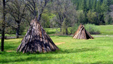 Native American Indian Village Teepee Tipi Huts stock footage
