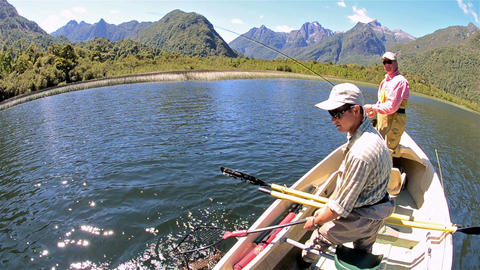 Bob Goodman and Jan Albertz on fly-fishing adventu Stock Video Footage