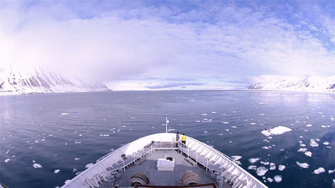 Bow point of view of an icebreaker ship plowing th Footage