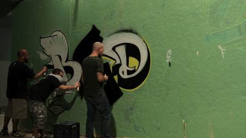 Time Lapse Shot Of Graffiti Being Sprayed On A Wal stock footage