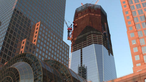 Tilt up to One World Trade Center in New York unde Footage