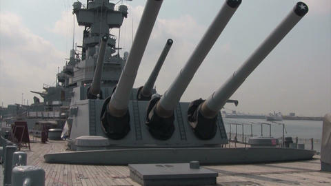 The gun turrets of a battleship stand ready Footage