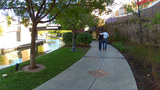 Couple Walking Oklahoma City Riverwalk stock footage
