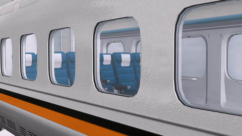 Close-up of modern train,train compartments passenger seat Animation