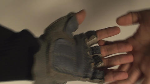 Man Removing Gym Gloves, Wrist, Protection, Sports Footage