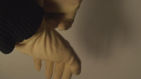 Man Putting Latex Gloves, Hospital, Hygiene, Prote Live Action