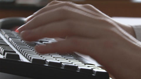Hand type on keyboard Stock Video Footage