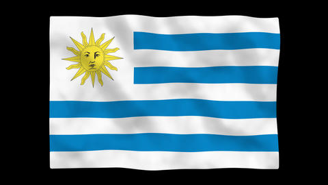 Flag A083 URY Uruguay Stock Video Footage