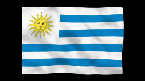 Flag A083 URY Uruguay Stock Video Footage