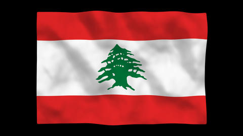 Flag A085 LBN Lebanon Stock Video Footage