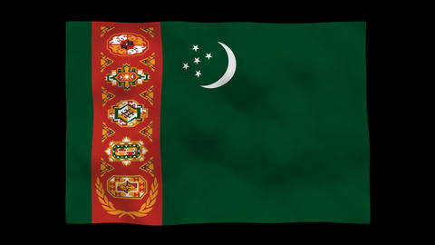 Flag A089 TKM Turkmenistan Stock Video Footage