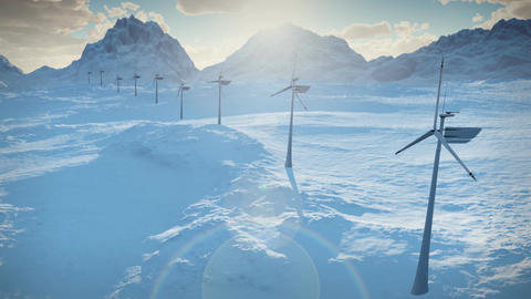 (1152) Electricity Wind Turbines Farm Power Clean Alternative Energy Winter Snow LOOP Footage