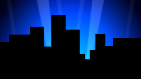 City Skyline w/ Animated Search Lights 01 (24fps) Animation