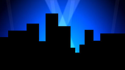 City Skyline w/ Animated Search Lights 01 (24fps) Stock Video Footage
