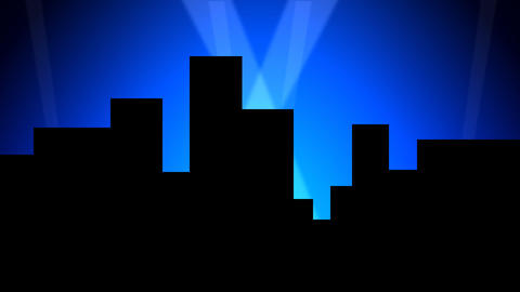 City Skyline w/ Animated Search Lights 01 (30fps) Stock Video Footage