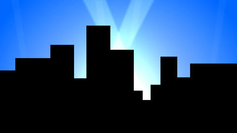 City Skyline w/ Animated Search Lights 02 (30fps) Stock Video Footage