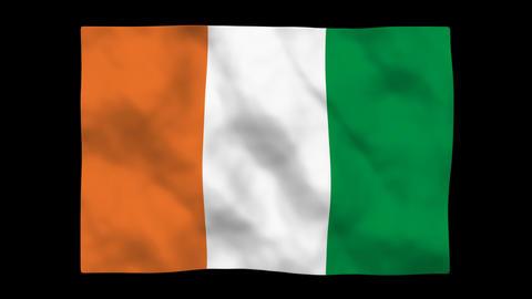 Flag A093 CIV Cote d Ivoire Stock Video Footage