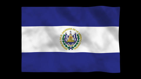 Flag A097 SLV El Salvador Stock Video Footage