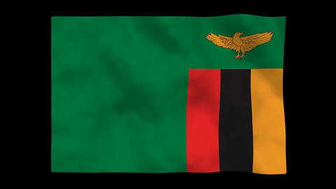 Flag A109 ZMB Zambia Stock Video Footage