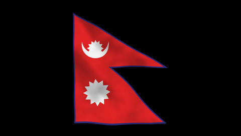 Flag A115 NPL Nepal Stock Video Footage