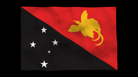 Flag A129 PNG Papua New Guinea Stock Video Footage