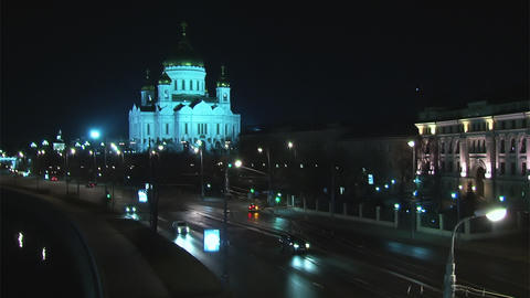 Traffic in night Moscow near river Footage