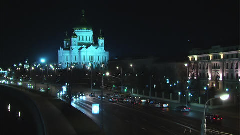 Traffic in night Moscow near river Stock Video Footage