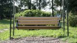 Bench Empty Swing In Park stock footage