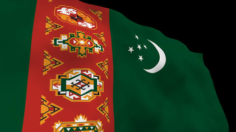 Flag B089 TKM Turkmenistan Stock Video Footage