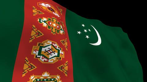 Flag B089 TKM Turkmenistan Stock Video Footage