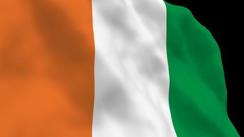 Flag B093 CIV Cote d Ivoire Stock Video Footage