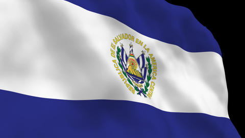 Flag B097 SLV El Salvador Stock Video Footage