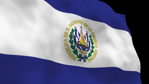 Flag B097 SLV El Salvador Stock Video Footage