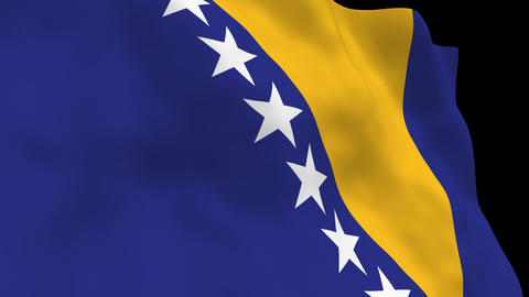 Flag B101 BIH Bosnia and Herzegovina Stock Video Footage