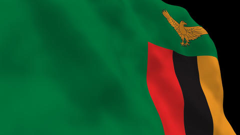 Flag B109 ZMB Zambia Stock Video Footage