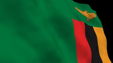 Flag B109 ZMB Zambia Stock Video Footage