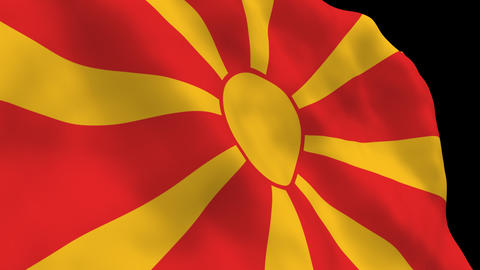 Flag B121 MKD Macedonia Stock Video Footage