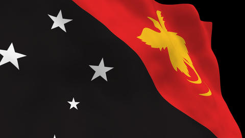 Flag B129 PNG Papua N Guinea Stock Video Footage