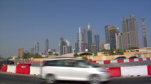 dubai skyline traffic bus pan Stock Video Footage