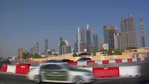 dubai skyline traffic bus pan Stock Video Footage