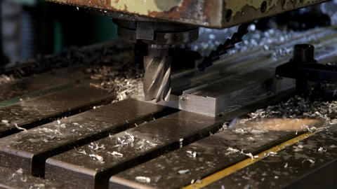 Drill stop and shavings blow out Stock Video Footage