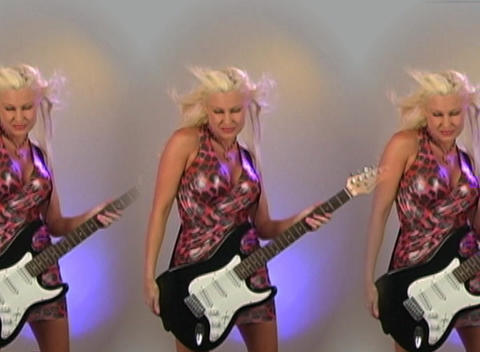 Beautiful Blonde with Electric Guitar - in Triplic Footage
