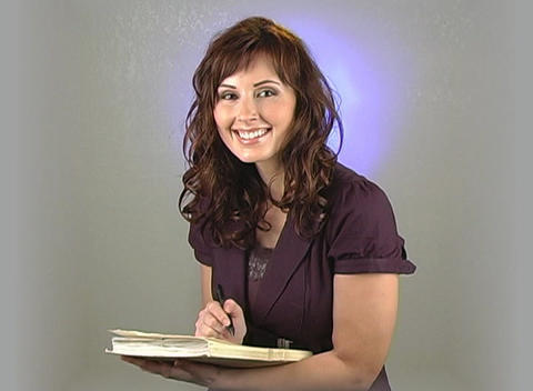 Beautiful Brunette Businesswoman Writing Stock Video Footage